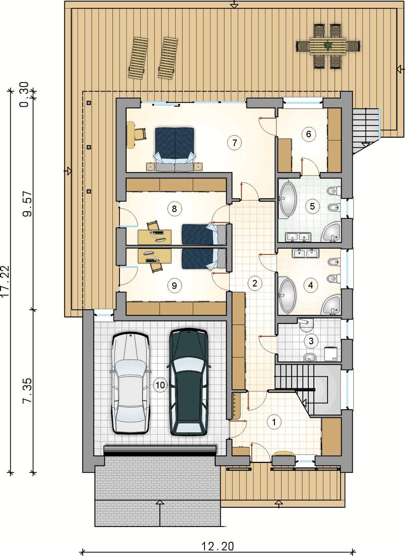 Большой двухэтажный дом из СИП панелей план