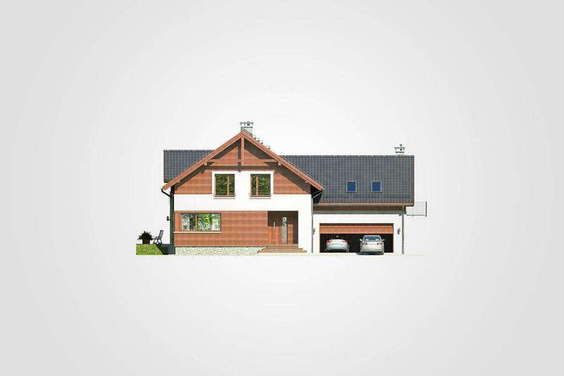 Двухэтажный дом из СИП панелей с гаражом фасад