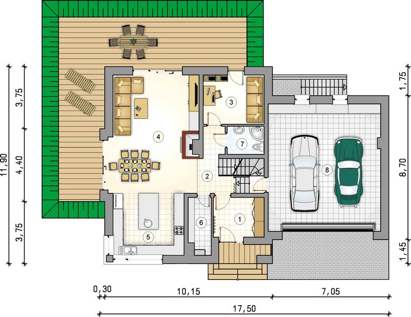 Двухэтажный дом из СИП панелей с гаражом план