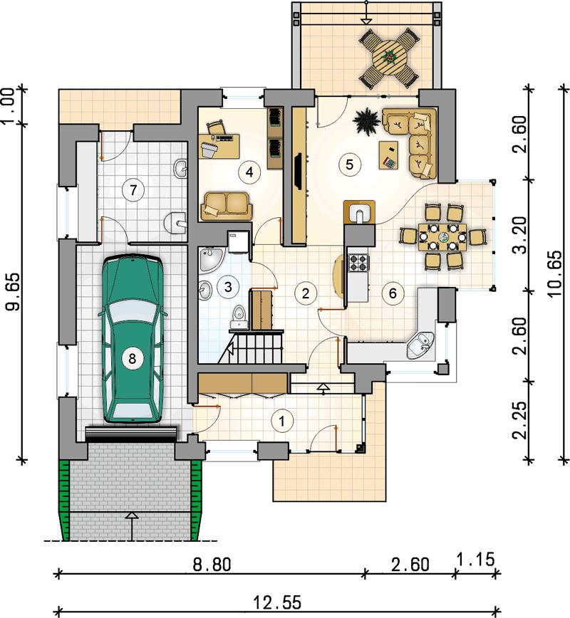 Проект дома из СИП панелей K2.187 план