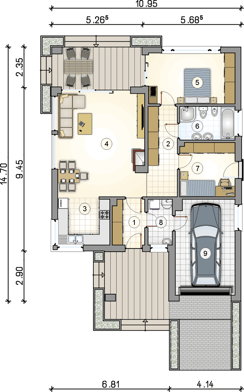 Проект одноэтажного дома из СИП панелей план
