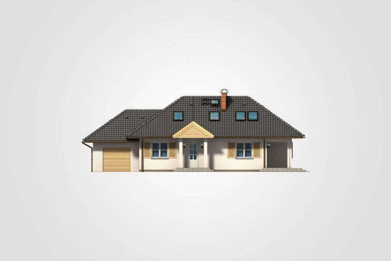 Дом из СИП панелей с чердаком фасад