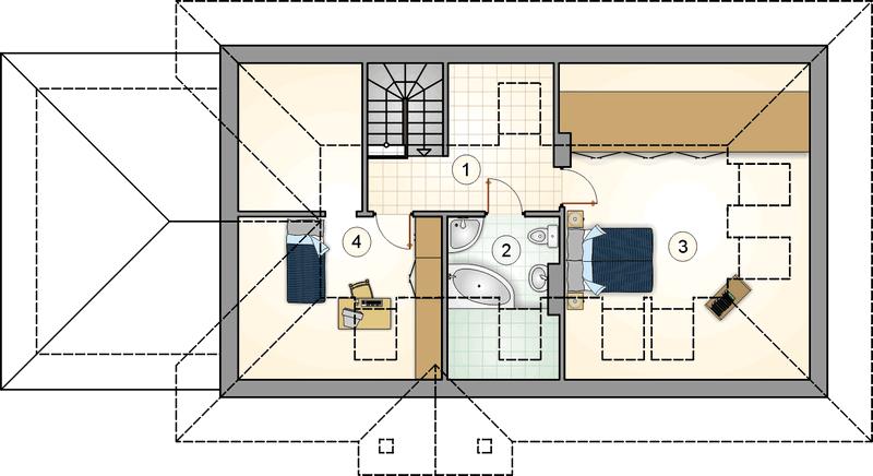 Дом из СИП панелей с чердаком план