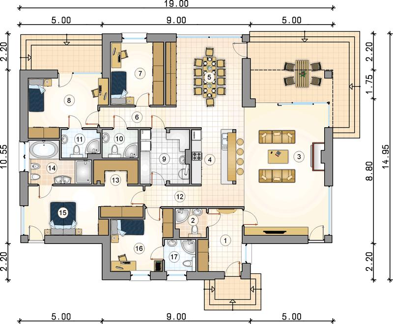Одноэтажный дом из СИП панелей план